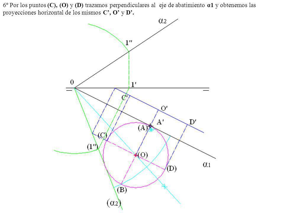 6º Por los puntos (C), (O) y (D) trazamos perpendiculares al eje de abatimiento α1 y obtenemos las proyecciones horizontal de los mismos C, O y D.