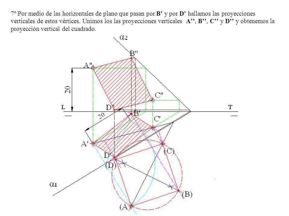 5º Hallamos los otros puntos abatidos (A) y (C) por afinidad prolongamos A-B hasta que corte al eje en el punto 4, unimos este con el (B) y donde corte a la perpendicular trazada por A obtenemos el punto (A) de la misma manera se obtiene el punto (C).
