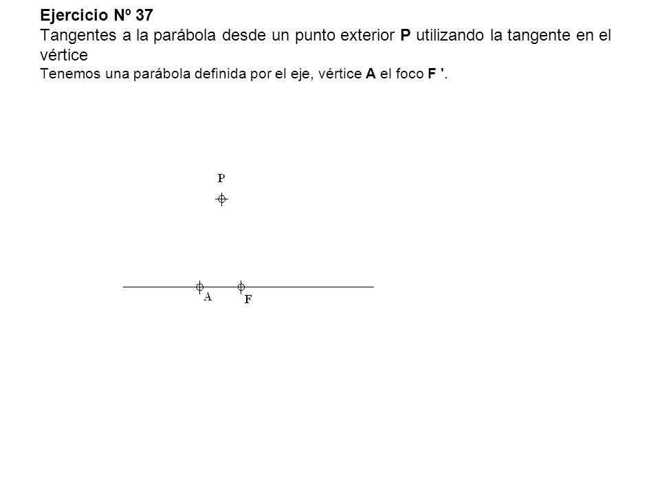 Ejercicio Nº 37 Tangentes a la parábola desde un punto exterior P utilizando la tangente en el vértice Tenemos una parábola definida por el eje, vérti