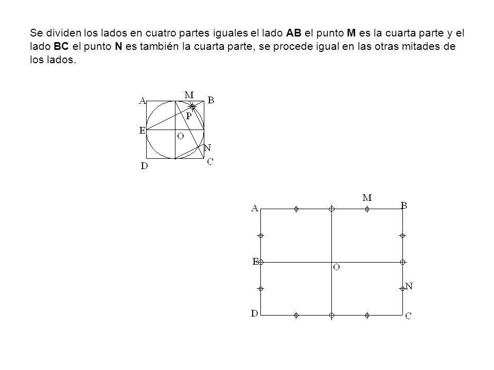 Se dividen los lados en cuatro partes iguales el lado AB el punto M es la cuarta parte y el lado BC el punto N es también la cuarta parte, se procede