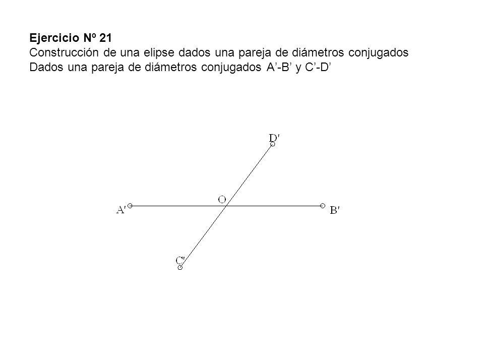 Ejercicio Nº 21 Construcción de una elipse dados una pareja de diámetros conjugados Dados una pareja de diámetros conjugados A-B y C-D