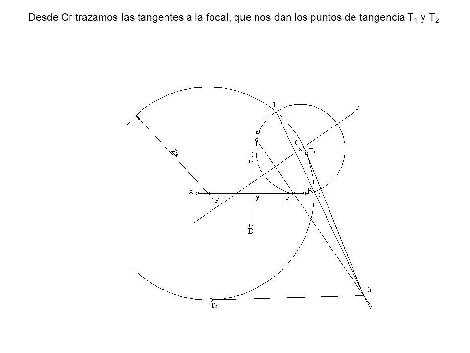 Desde Cr trazamos las tangentes a la focal, que nos dan los puntos de tangencia T 1 y T 2