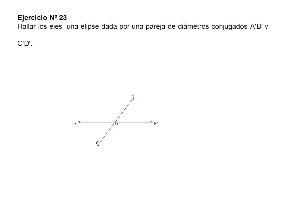 Ejercicio Nº 23 Hallar los ejes una elipse dada por una pareja de diámetros conjugados A'B' y C'D'.