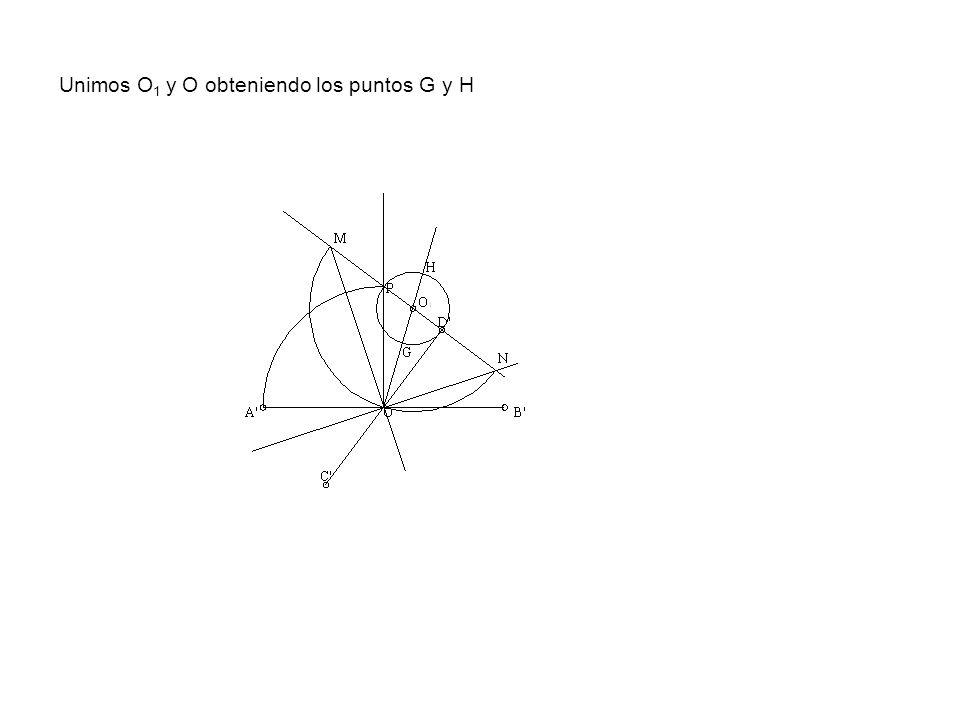 Unimos O 1 y O obteniendo los puntos G y H
