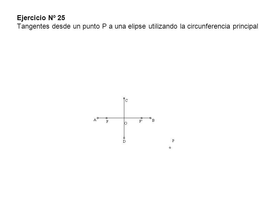 Ejercicio Nº 25 Tangentes desde un punto P a una elipse utilizando la circunferencia principal