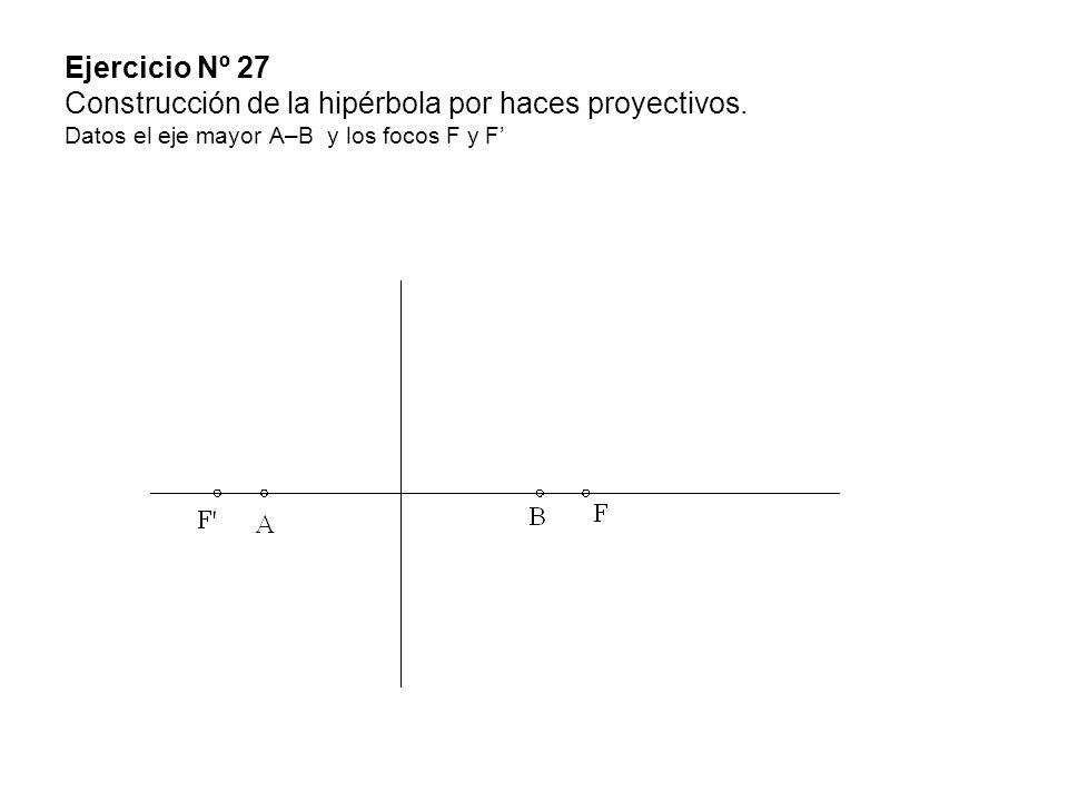 Ejercicio Nº 27 Construcción de la hipérbola por haces proyectivos. Datos el eje mayor A–B y los focos F y F