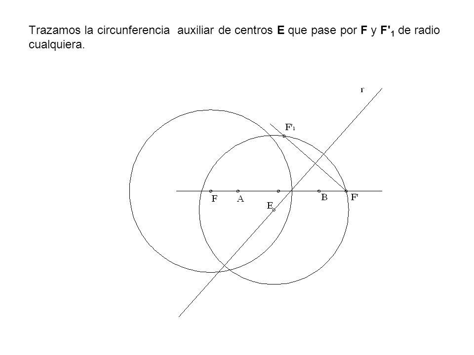Trazamos la circunferencia auxiliar de centros E que pase por F y F' 1 de radio cualquiera.