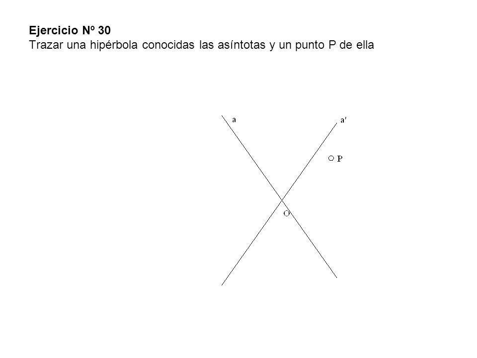 Ejercicio Nº 30 Trazar una hipérbola conocidas las asíntotas y un punto P de ella