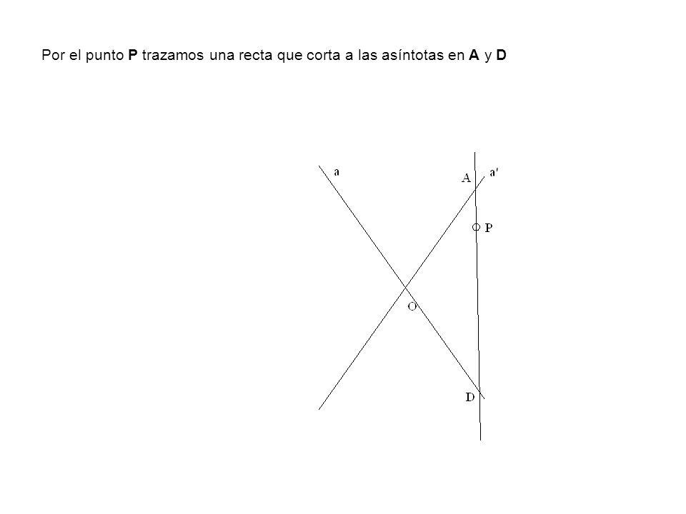 Por el punto P trazamos una recta que corta a las asíntotas en A y D