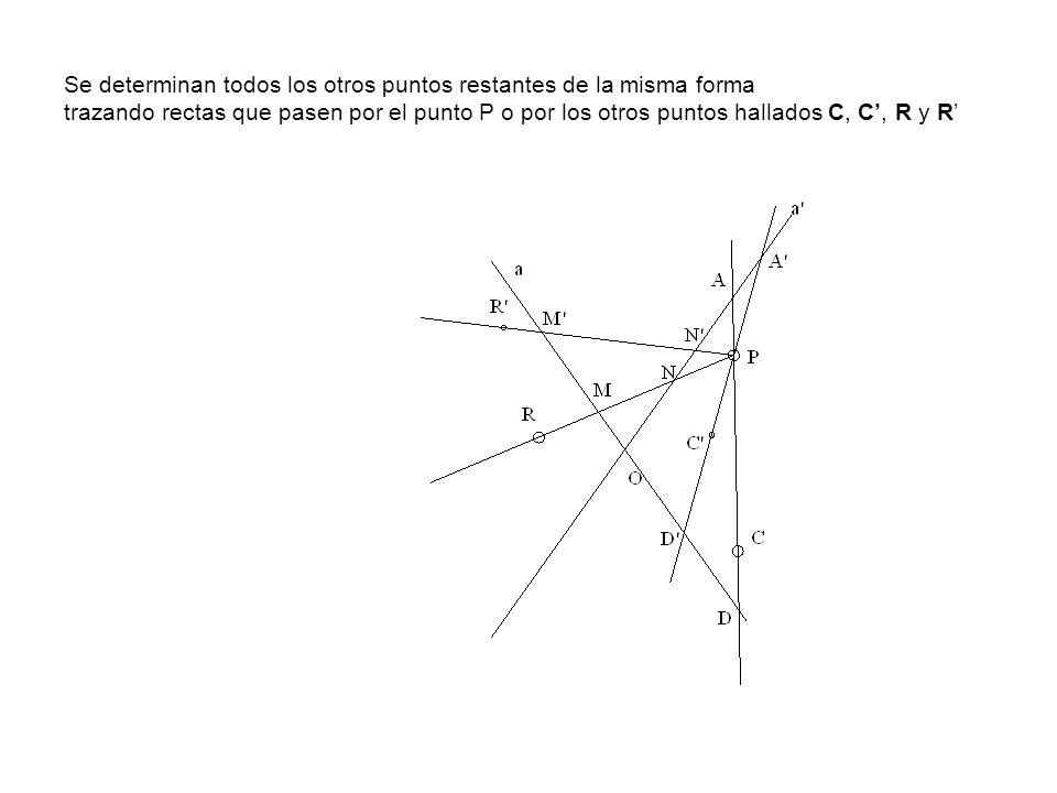 Se determinan todos los otros puntos restantes de la misma forma trazando rectas que pasen por el punto P o por los otros puntos hallados C, C, R y R