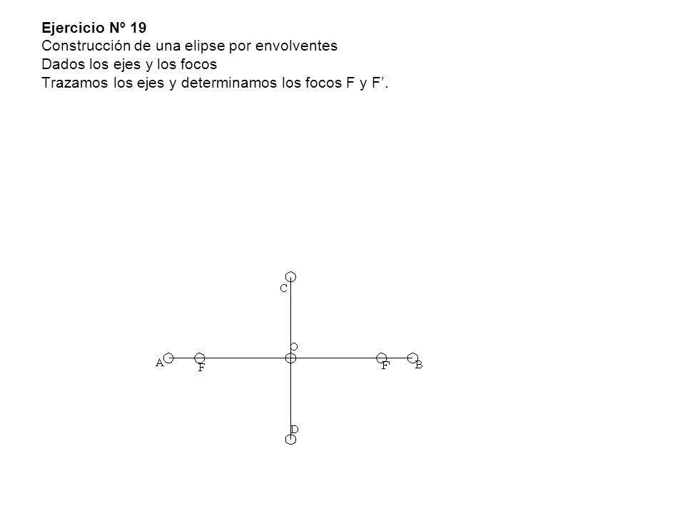 Ejercicio Nº 19 Construcción de una elipse por envolventes Dados los ejes y los focos Trazamos los ejes y determinamos los focos F y F.