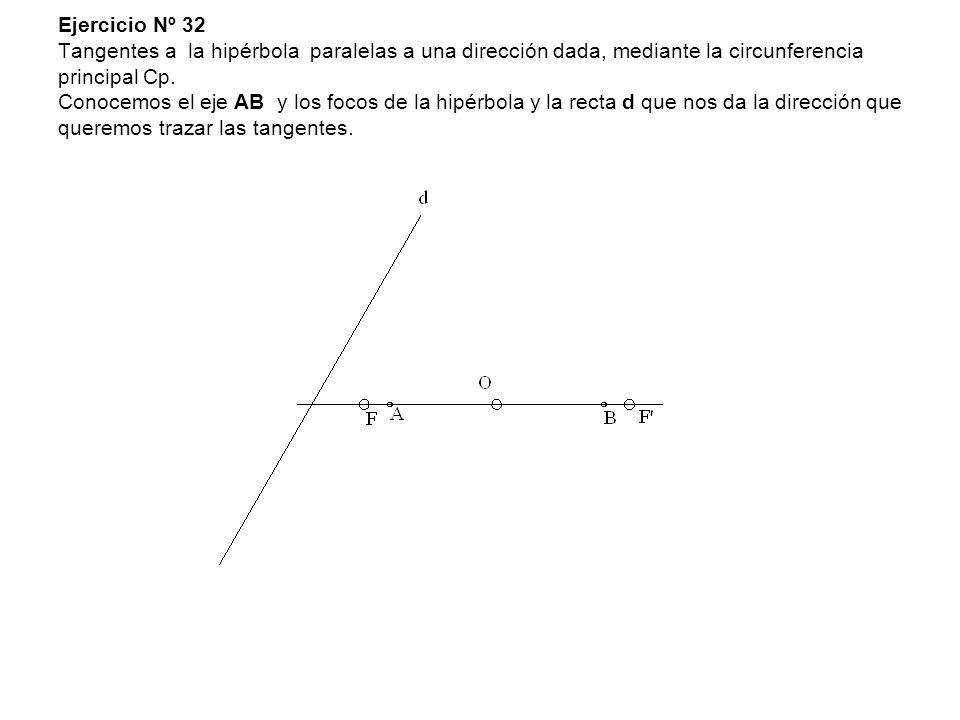Ejercicio Nº 32 Tangentes a la hipérbola paralelas a una dirección dada, mediante la circunferencia principal Cp. Conocemos el eje AB y los focos de l