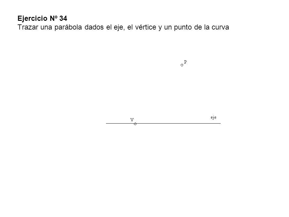 Ejercicio Nº 34 Trazar una parábola dados el eje, el vértice y un punto de la curva