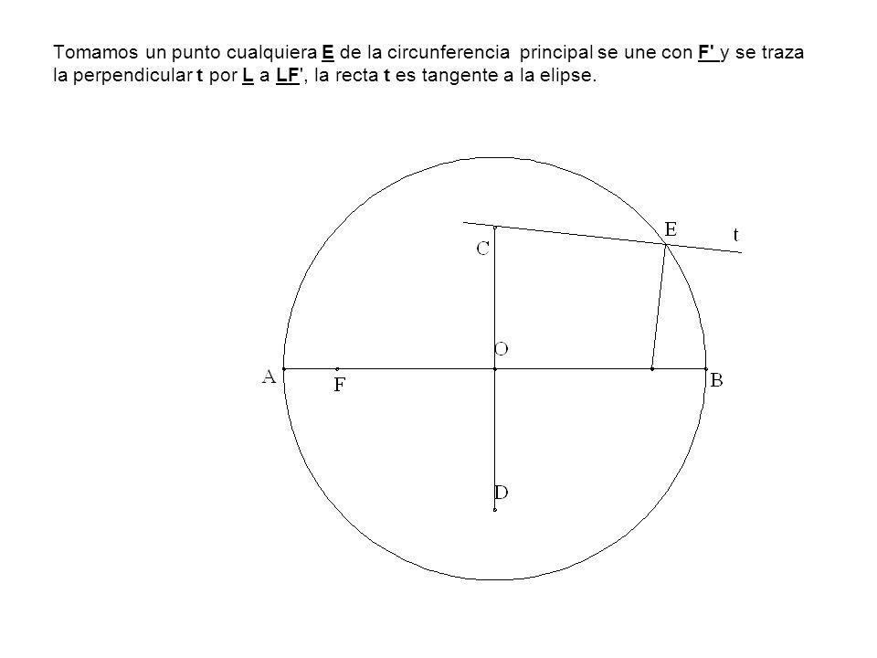Tomamos un punto cualquiera E de la circunferencia principal se une con F' y se traza la perpendicular t por L a LF', la recta t es tangente a la elip