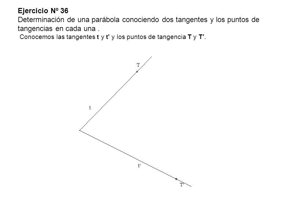 Ejercicio Nº 36 Determinación de una parábola conociendo dos tangentes y los puntos de tangencias en cada una. Conocemos las tangentes t y t' y los pu