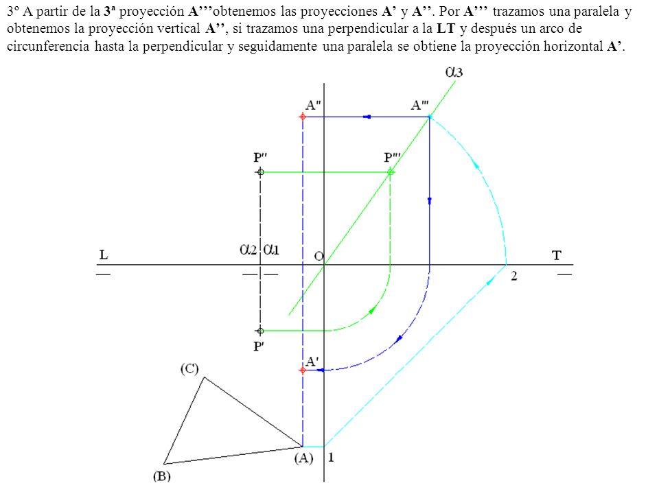 3º A partir de la 3ª proyección Aobtenemos las proyecciones A y A. Por A trazamos una paralela y obtenemos la proyección vertical A, si trazamos una p