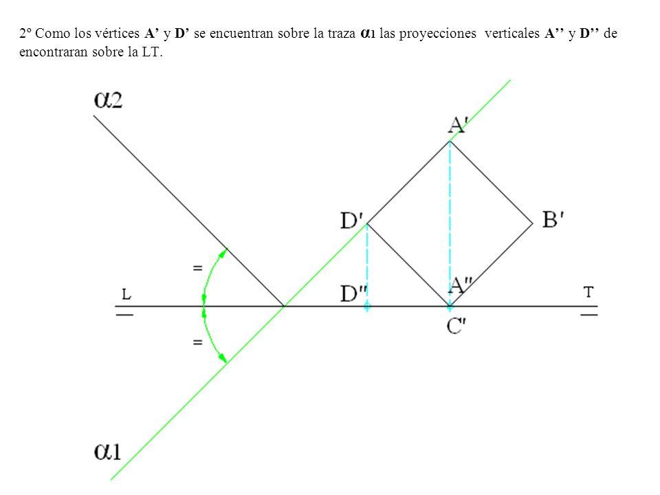 2º Como los vértices A y D se encuentran sobre la traza α 1 las proyecciones verticales A y D de encontraran sobre la LT.