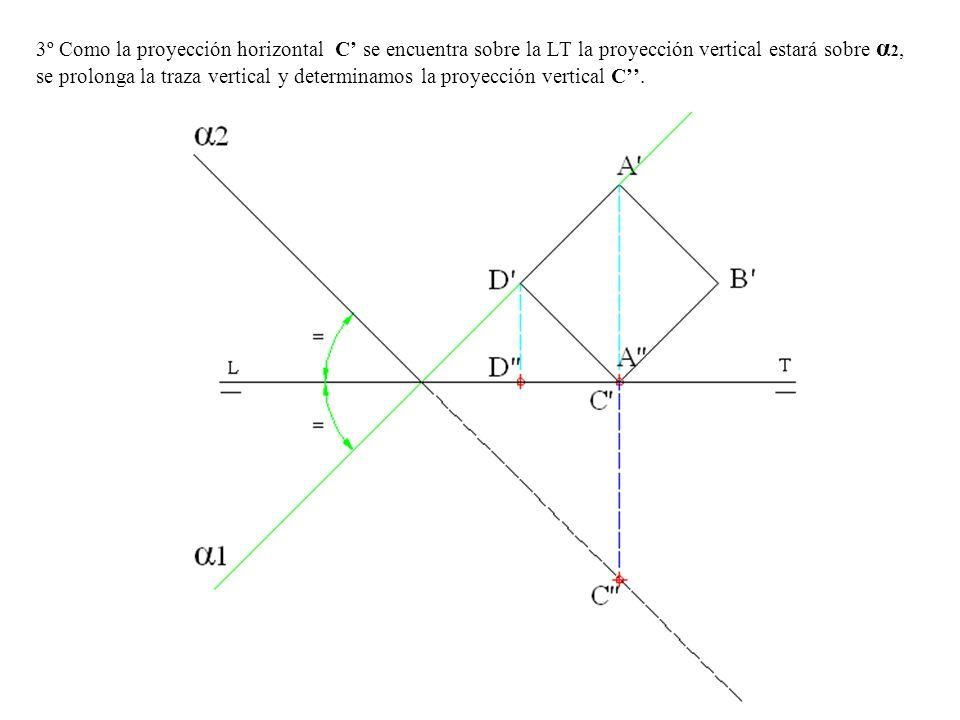 3º Como la proyección horizontal C se encuentra sobre la LT la proyección vertical estará sobre α 2, se prolonga la traza vertical y determinamos la p