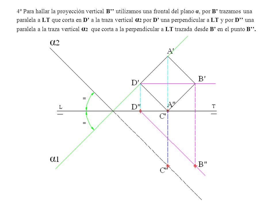 4º Para hallar la proyección vertical B utilizamos una frontal del plano α, por B trazamos una paralela a LT que corta en D a la traza vertical α 2 po