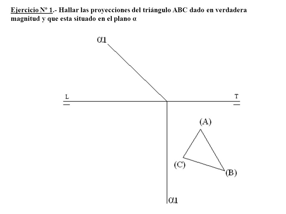 Ejercicio Nº 1.- Hallar las proyecciones del triángulo ABC dado en verdadera magnitud y que esta situado en el plano α
