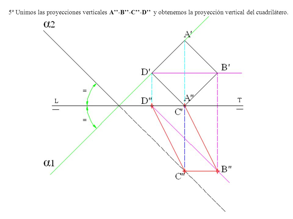5º Unimos las proyecciones verticales A-B-C-D y obtenemos la proyección vertical del cuadrilátero.