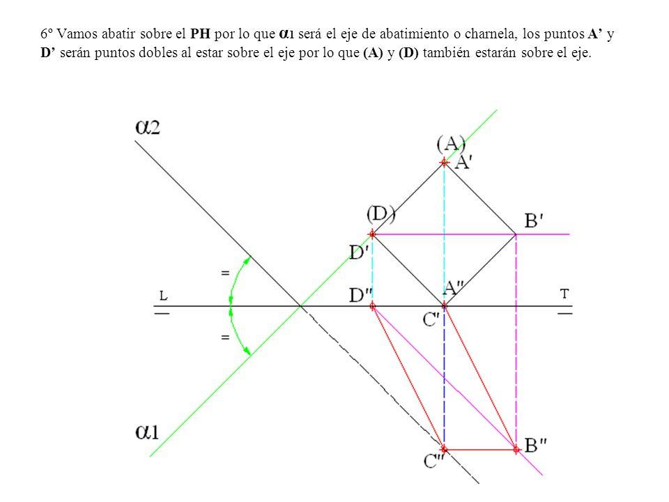 6º Vamos abatir sobre el PH por lo que α 1 será el eje de abatimiento o charnela, los puntos A y D serán puntos dobles al estar sobre el eje por lo qu