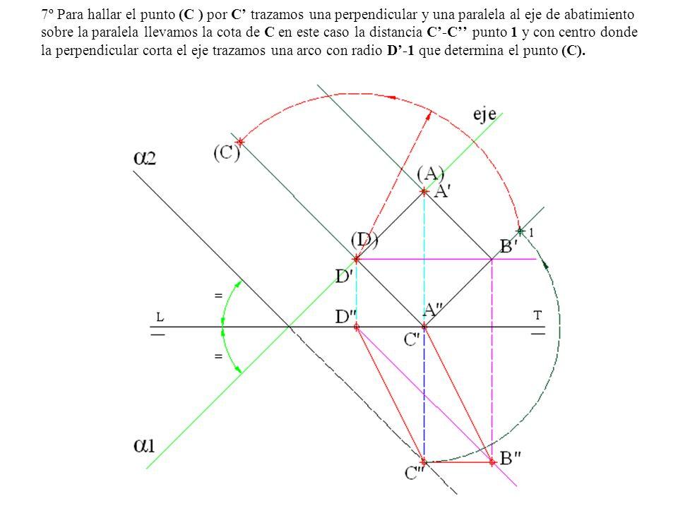 7º Para hallar el punto (C ) por C trazamos una perpendicular y una paralela al eje de abatimiento sobre la paralela llevamos la cota de C en este cas