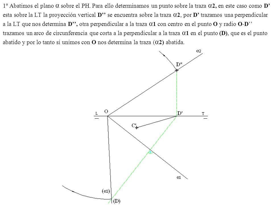 1º Abatimos el plano α sobre el PH. Para ello determinamos un punto sobre la traza α 2, en este caso como D esta sobre la LT la proyección vertical D