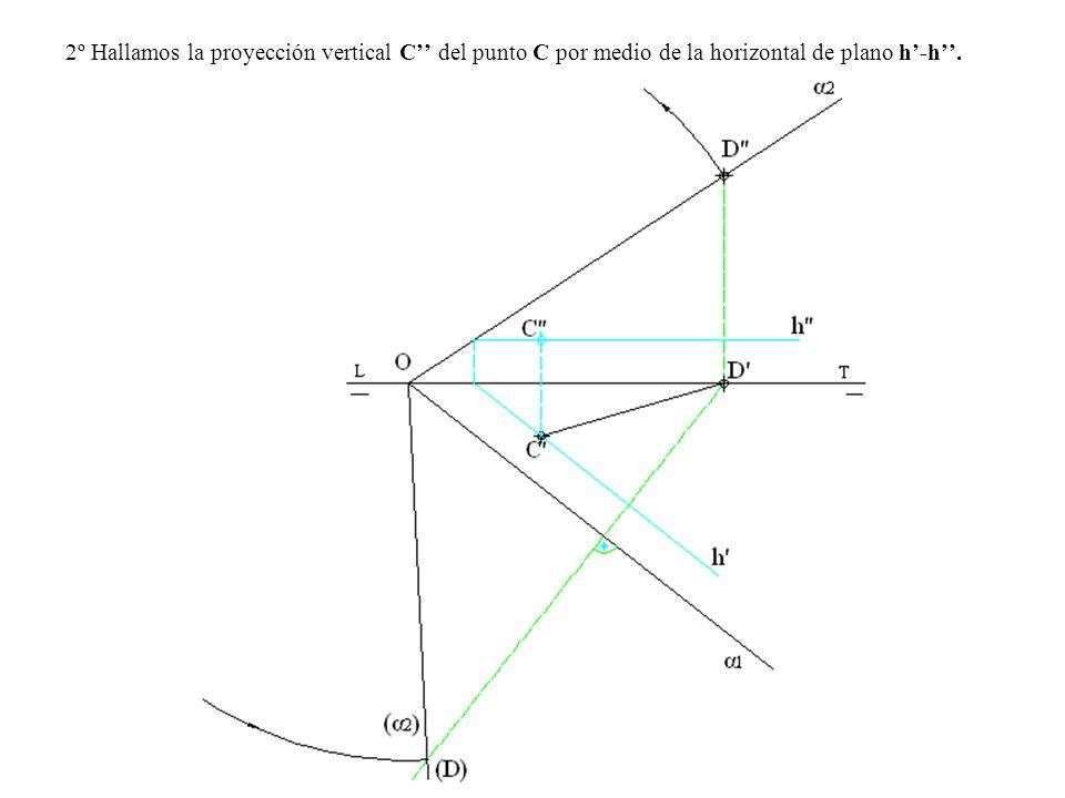 2º Hallamos la proyección vertical C del punto C por medio de la horizontal de plano h-h.