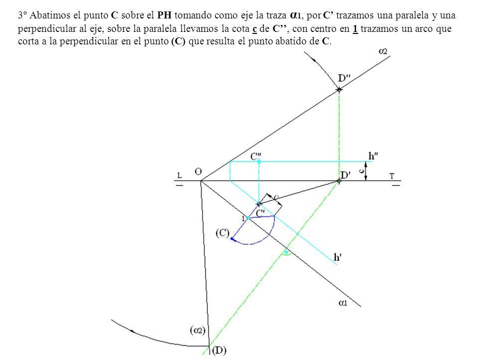 3º Abatimos el punto C sobre el PH tomando como eje la traza α 1, por C trazamos una paralela y una perpendicular al eje, sobre la paralela llevamos l
