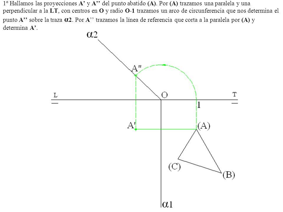 1º Hallamos las proyecciones A y A del punto abatido (A). Por (A) trazamos una paralela y una perpendicular a la LT, con centros en O y radio O-1 traz