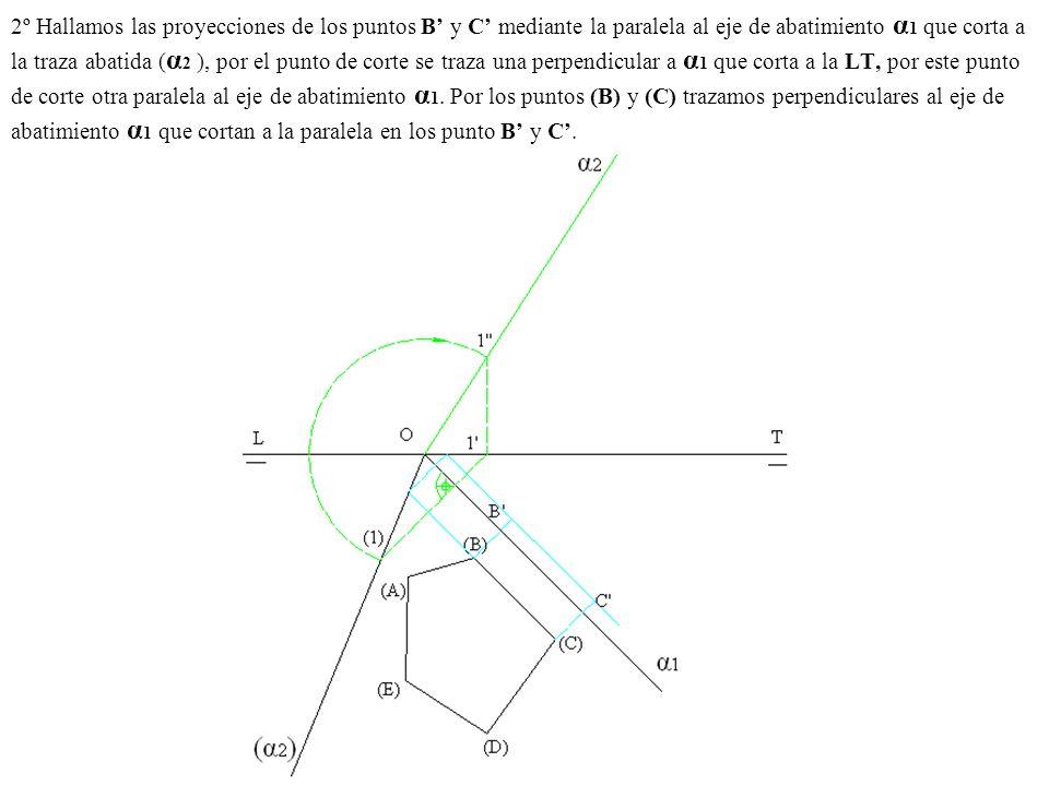 2º Hallamos las proyecciones de los puntos B y C mediante la paralela al eje de abatimiento α 1 que corta a la traza abatida ( α 2 ), por el punto de