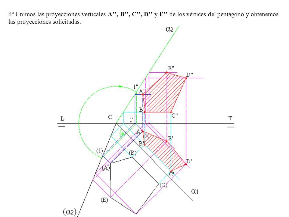 6º Unimos las proyecciones verticales A, B, C, D y E de los vértices del pentágono y obtenemos las proyecciones solicitadas.