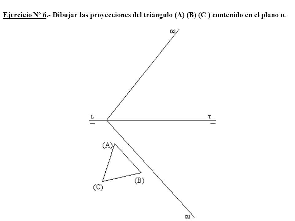Ejercicio Nº 6.- Dibujar las proyecciones del triángulo (A) (B) (C ) contenido en el plano α.
