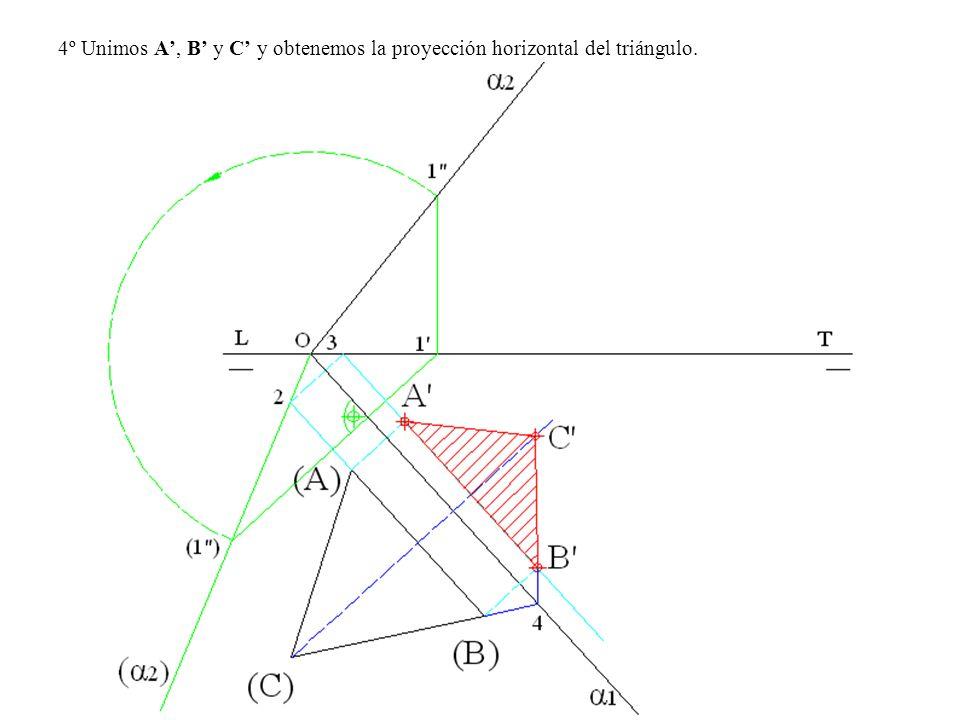 4º Unimos A, B y C y obtenemos la proyección horizontal del triángulo.