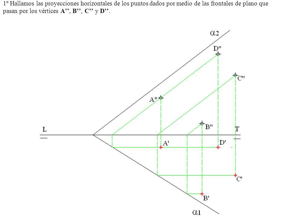 1º Hallamos las proyecciones horizontales de los puntos dados por medio de las frontales de plano que pasan por los vértices A, B, C y D.