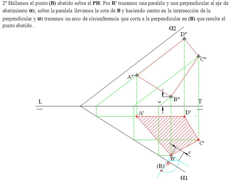 2º Hallamos el punto (B) abatido sobre el PH. Por B trazamos una paralela y una perpendicular al eje de abatimiento α 1, sobre la paralela llevamos la