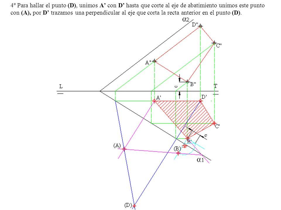 4º Para hallar el punto (D), unimos A con D hasta que corte al eje de abatimiento unimos este punto con (A), por D trazamos una perpendicular al eje q