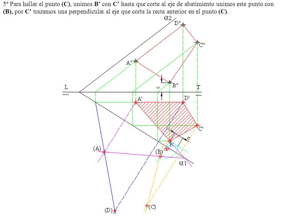 5º Para hallar el punto (C), unimos B con C hasta que corte al eje de abatimiento unimos este punto con (B), por C trazamos una perpendicular al eje q