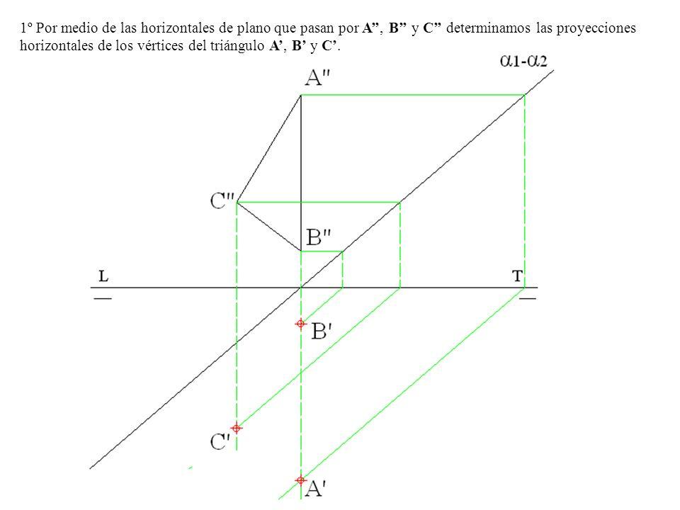 1º Por medio de las horizontales de plano que pasan por A, B y C determinamos las proyecciones horizontales de los vértices del triángulo A, B y C.