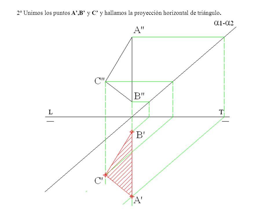 2º Unimos los puntos A,B y C y hallamos la proyección horizontal de triángulo.