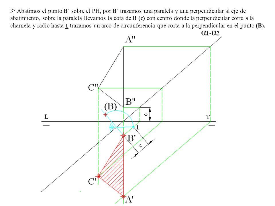3º Abatimos el punto B sobre el PH, por B trazamos una paralela y una perpendicular al eje de abatimiento, sobre la paralela llevamos la cota de B (c)