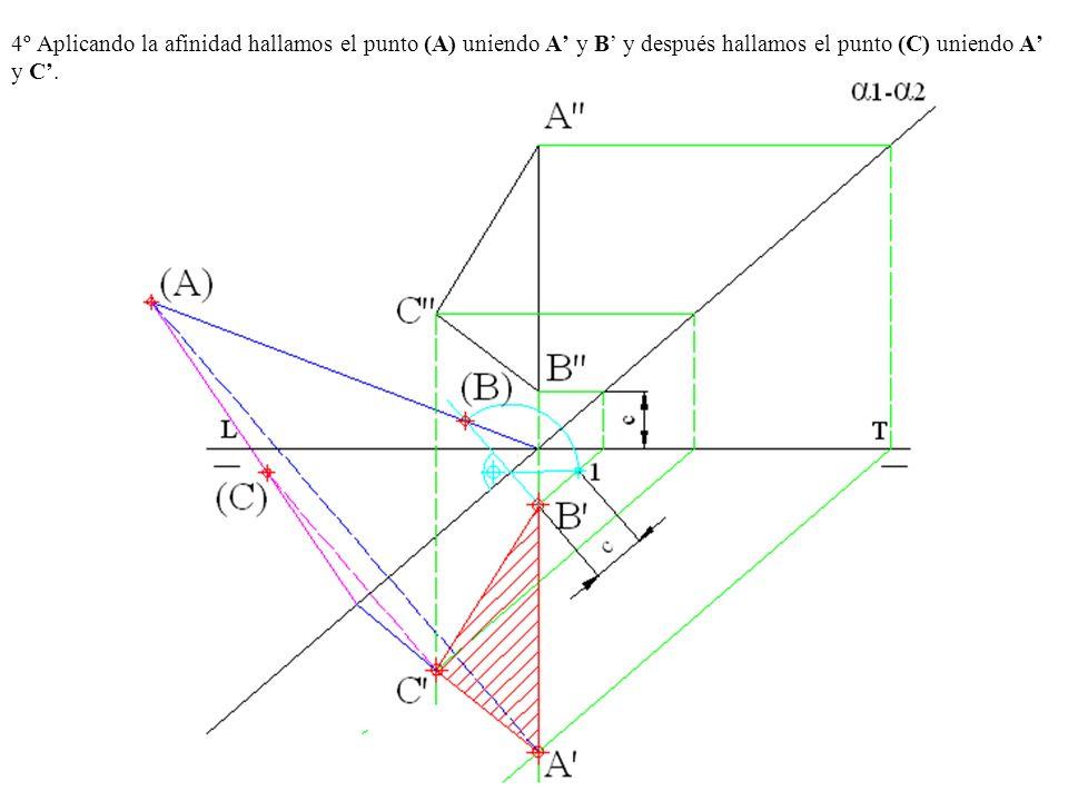4º Aplicando la afinidad hallamos el punto (A) uniendo A y B y después hallamos el punto (C) uniendo A y C.
