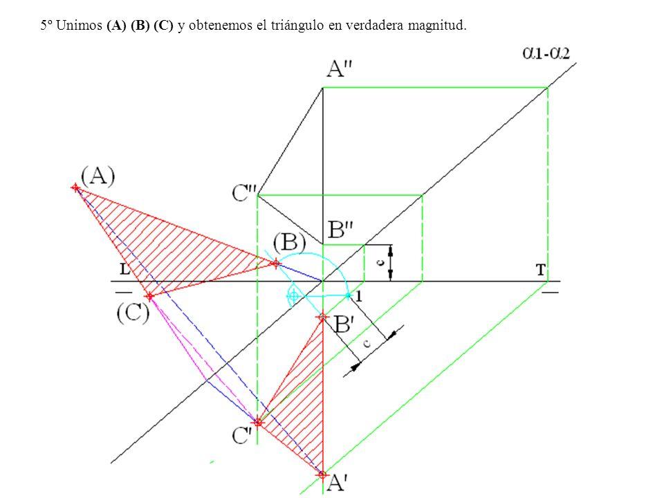 5º Unimos (A) (B) (C) y obtenemos el triángulo en verdadera magnitud.