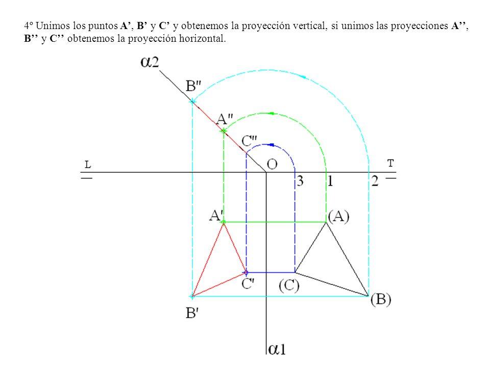 4º Unimos los puntos A, B y C y obtenemos la proyección vertical, si unimos las proyecciones A, B y C obtenemos la proyección horizontal.