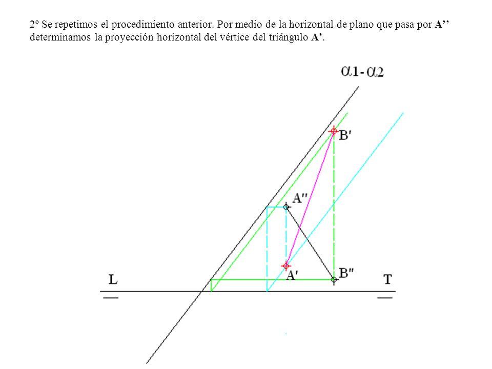 2º Se repetimos el procedimiento anterior. Por medio de la horizontal de plano que pasa por A determinamos la proyección horizontal del vértice del tr