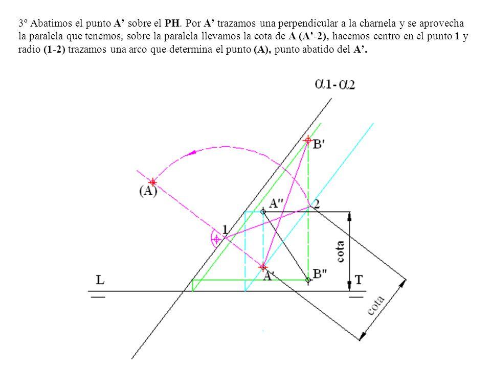 3º Abatimos el punto A sobre el PH. Por A trazamos una perpendicular a la charnela y se aprovecha la paralela que tenemos, sobre la paralela llevamos