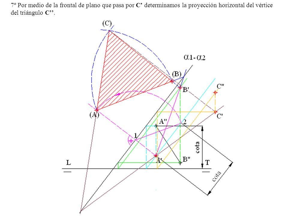 7º Por medio de la frontal de plano que pasa por C determinamos la proyección horizontal del vértice del triángulo C.
