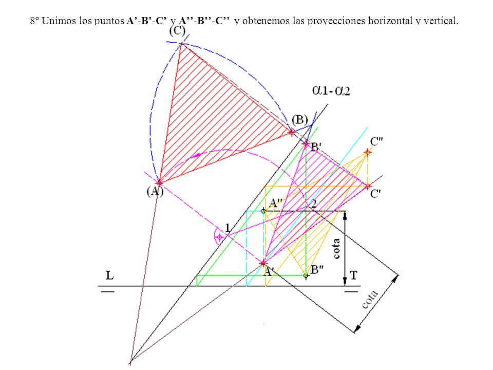 8º Unimos los puntos A-B-C y A-B-C y obtenemos las proyecciones horizontal y vertical.