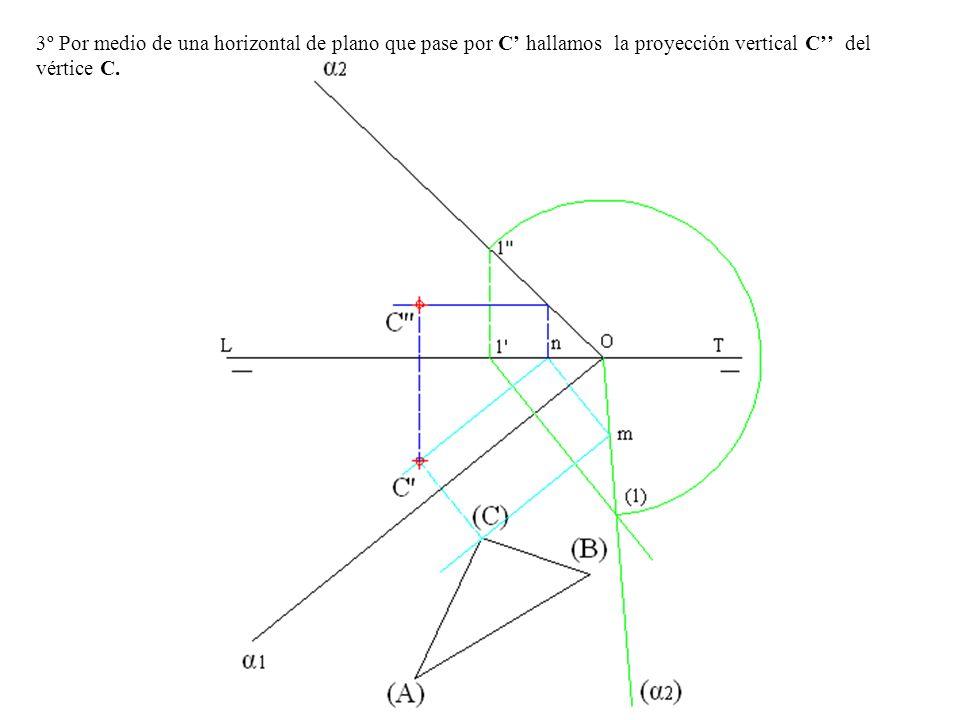 3º Por medio de una horizontal de plano que pase por C hallamos la proyección vertical C del vértice C.